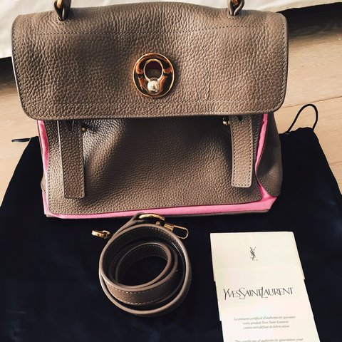 401d57aac46 @joannaoscloset. 2 years ago. United Kingdom. Yves Saint Laurent Muse Two  small handbag in brown leather and pink ...