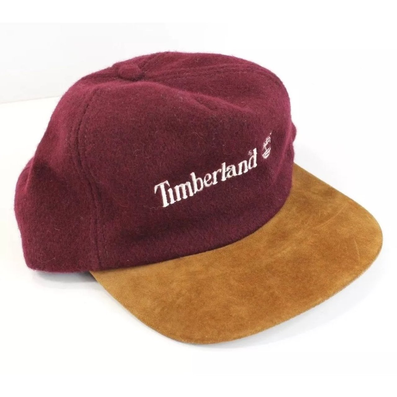 3a224969a08 Vintage Timberland Wool Suede Leather Strapback Hat Mint - - Depop
