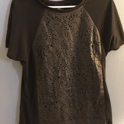 "dfb3078b very pretty black shirt with a lace faux ""leatherish"" for a - Depop"