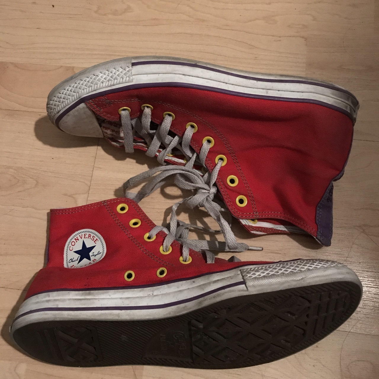 used red all star chuck taylor high top converse Depop