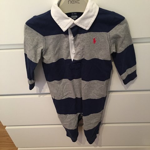 946df7a00 Baby boys 9 Months Ralph Lauren grey and navy romper. Only - Depop