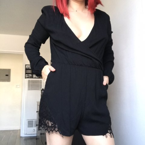 5d6bb6b43894 Black romper With pockets And cute lace design on both legs - Depop