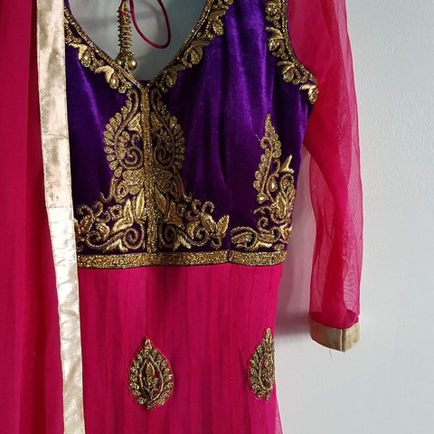 060bc4fd79 @_anj_a. yesterday. London, United Kingdom. Asian long dress, hot pink and purple  anarkali with gold embroidery.