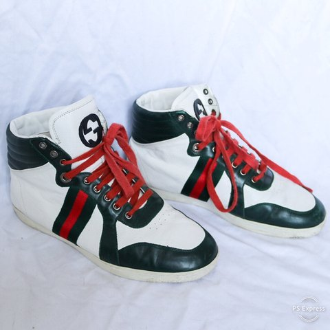 df85771e096 Men s white leather Gucci high top sneakers with red and 42