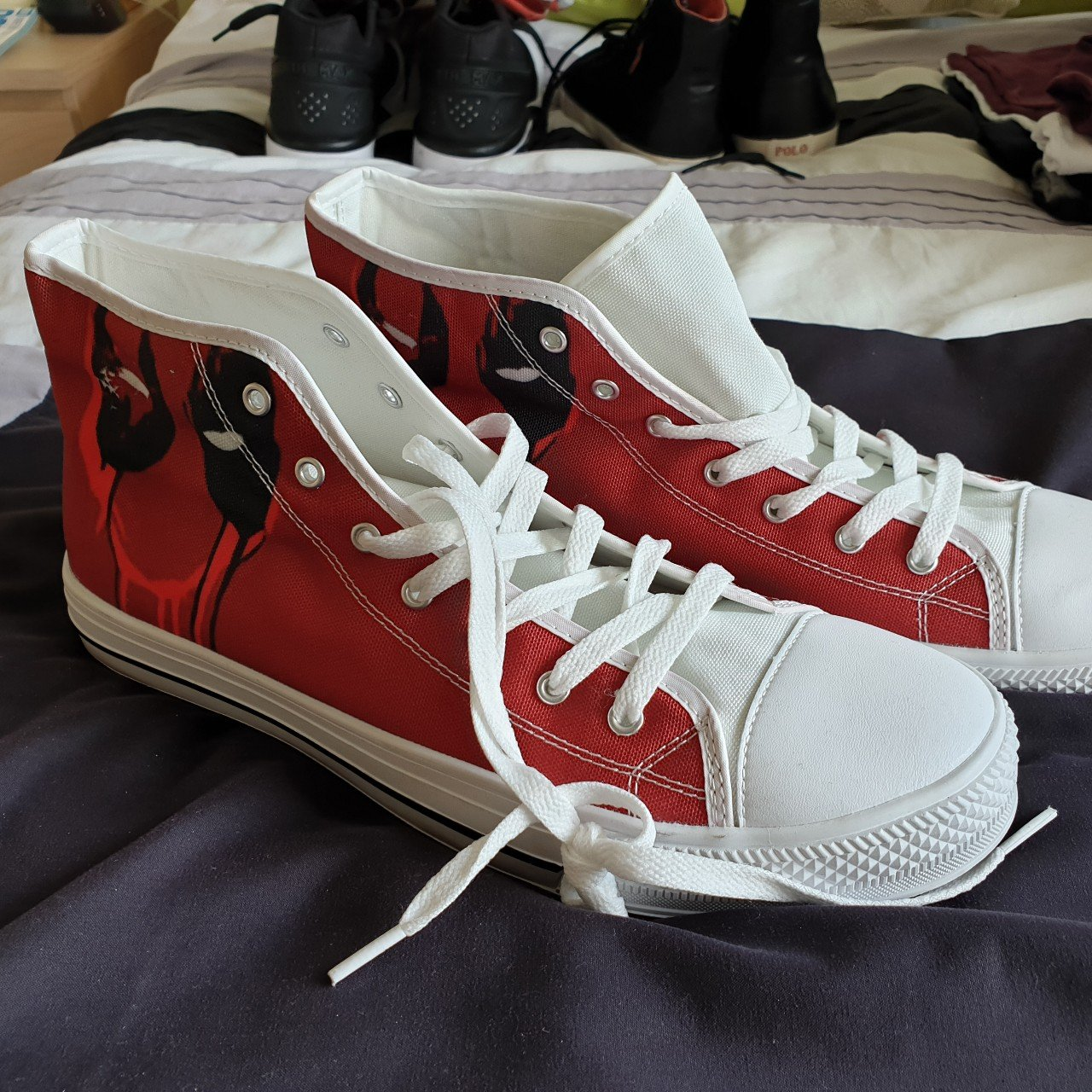 f37511edeacb Custom deadpool hitops UK size 11 States size 12 but fits - Depop