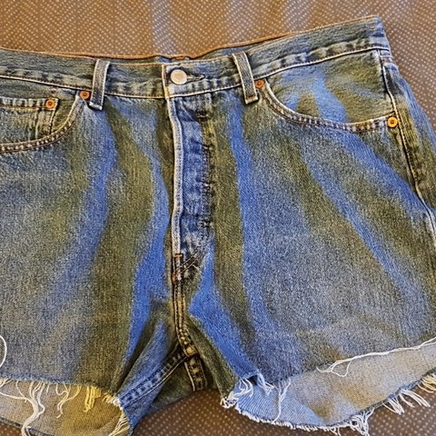 ee696198 Levi Denim Shorts Ripped Size W33 Size 14/16 Dark/washed out - Depop