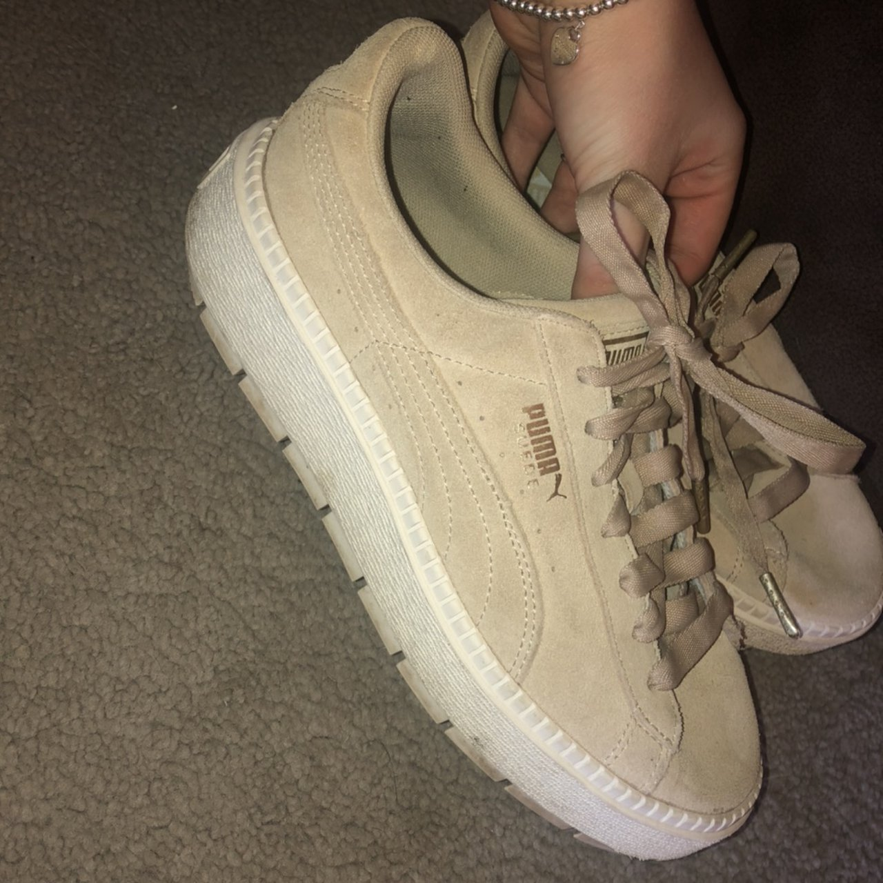 Nude suede puma trainers with ribbon