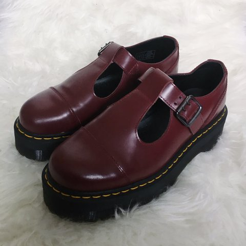 fb7989897aa Cherry red Dr. Martens Bethan shoes Burgundy T-bar leather - Depop