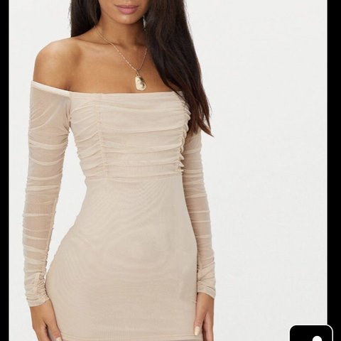 40f014993af9 Stone Ruched Mesh Bardot Bodycon Dress Bought for €30 from - Depop