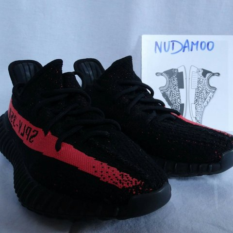 338a7e1a0c5 Want to sell adidas Yeezy Boost 350 V2 Red Stripe shoes were - Depop