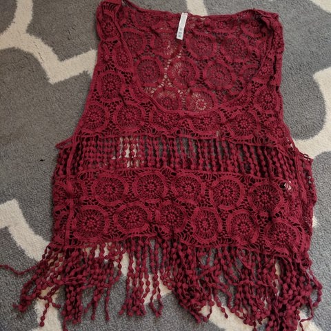 51a286743c76 Crochet tank Burgundy One size From Windsor Store Was a hand - Depop