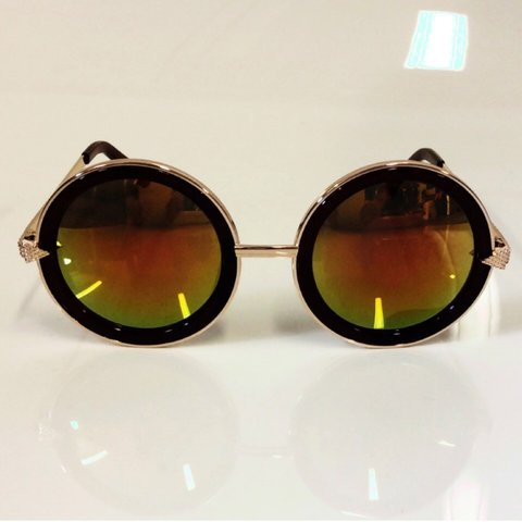 4aef89d2e644 SALE - vintage style round sunglasses in brown and rose gold - Depop