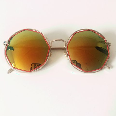c3374cad5c Amazing new round octagonal red and silver sunglasses with - Depop