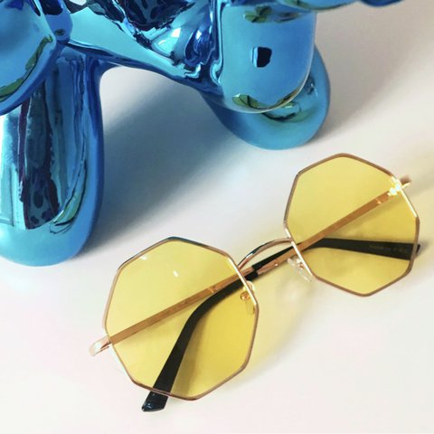 6eaf027d9e5 Vintage style round octagonal sunglasses with yellow lenses. - Depop