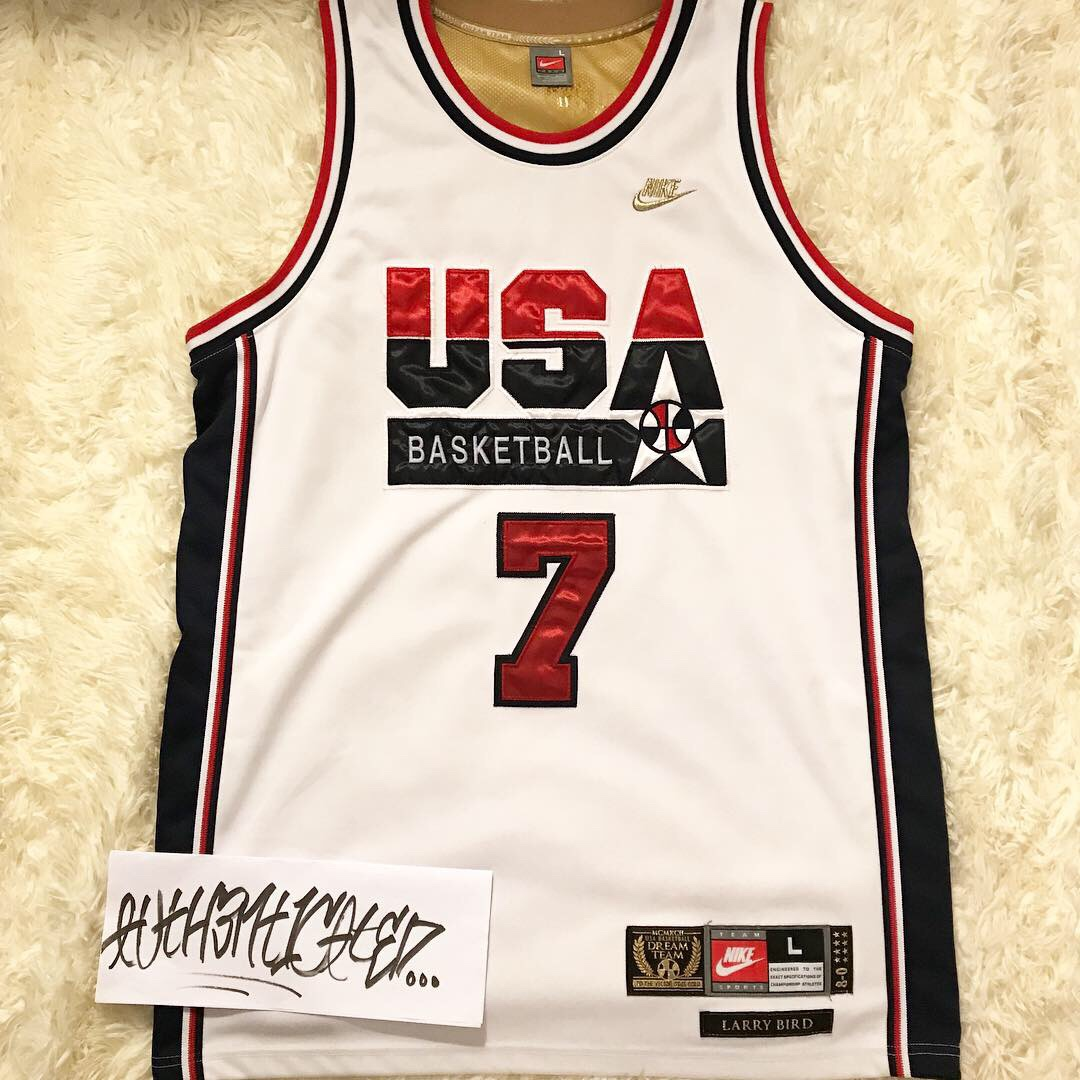 factory price ba9aa 043a1 Authentic Larry Bird Nike dream team USA jersey L 44 - Depop