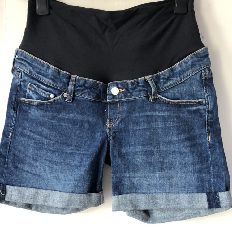 H M Mama Maternity Denim Shorts With Tag On Never Depop