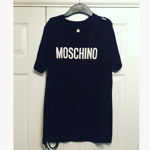 575fe831c4e6 Moschino distressed t-shirt dress!  ripped  oversized - Depop