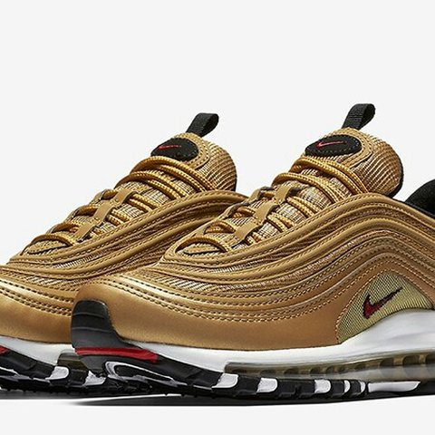 13c8b546ff Nike Air Max 97 Gold UK4 BNIB unisex Training shoes Air Max - Depop