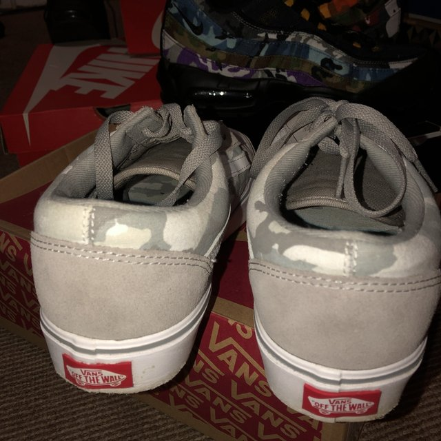 Multi Camo greywhitecream Vans OldSkool Lite. UK Depop
