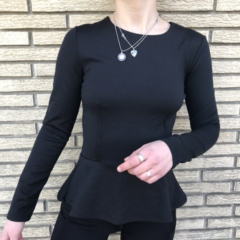 47b801f38f1 Zara Black Peplum Shirt • in very good condition S Non - Depop