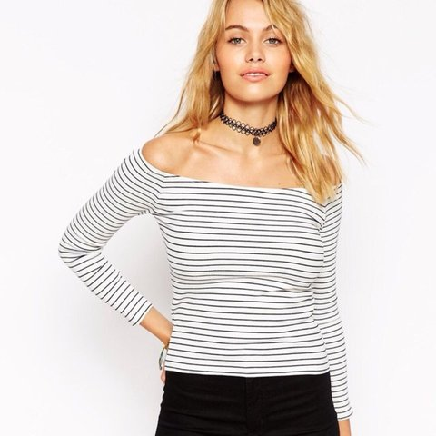 61a8b3406e552a ASOS black and white striped off the shoulder ribbed top. 8