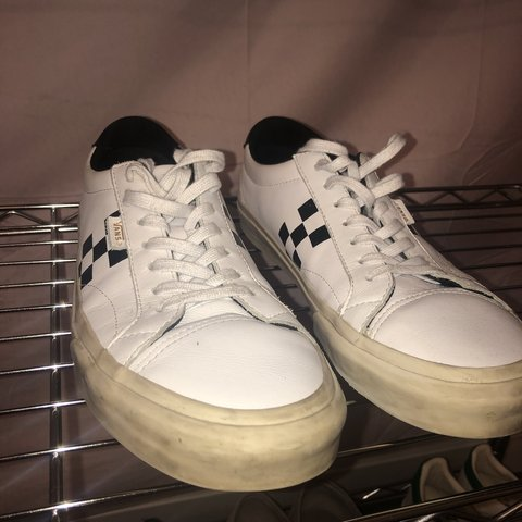 vans checkered sneakers black and white cream sole 7 10 is - Depop fef0eccd0