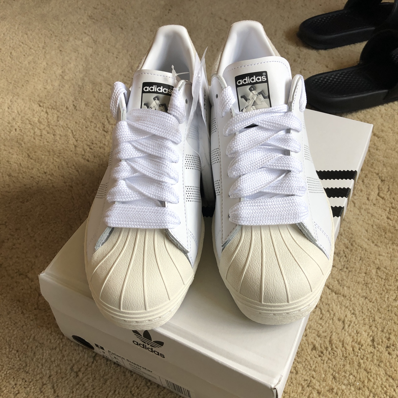 ventana Complejo Amoroso  Palace X Adidas superstar white Sold out instantly... - Depop