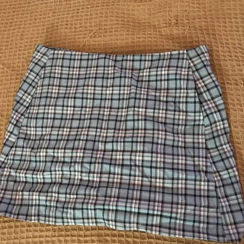 2e75b688f @laurenchall. 9 months ago. Scottsdale, United States. Baby blue/black/light  red/white plaid skirt. NEW - never worn ...