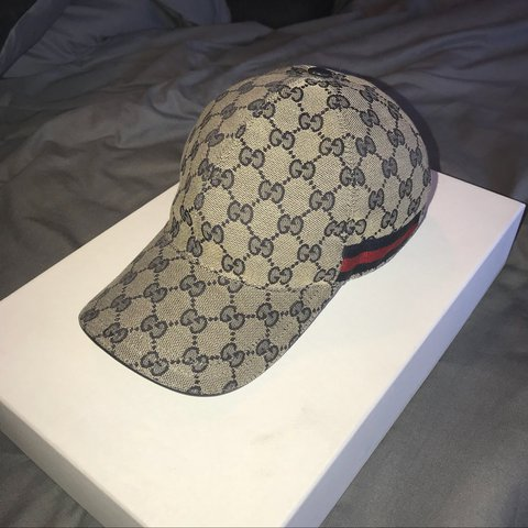 889f1680654 Beige   navy Gucci hat. Size S. Excellent condition. Offers  - Depop