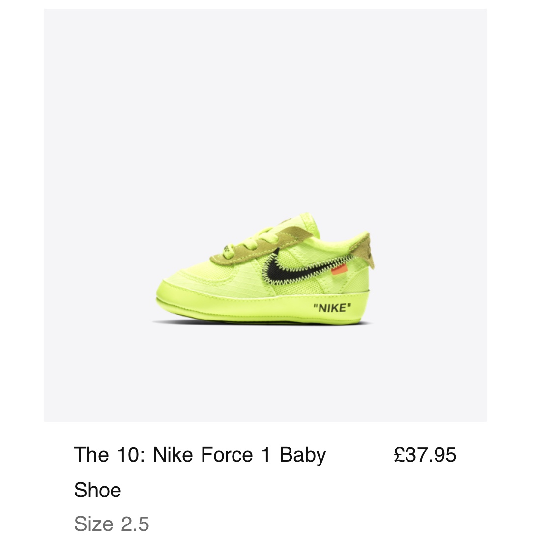 Nike Air Force 1 x Off White Baby Volt Baby size Depop