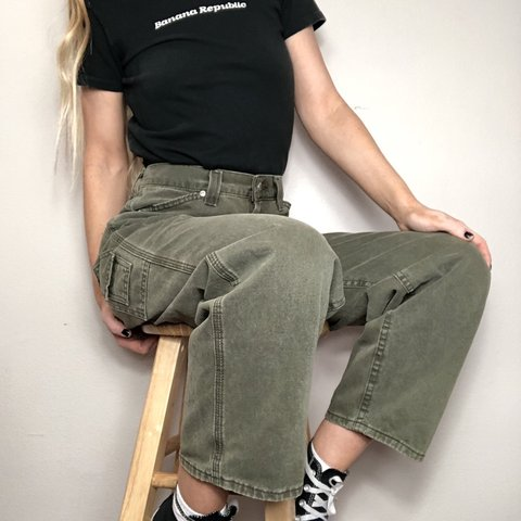 921e9f7b Vintage 90's Lee Riveted Baggy Flood Carpenter Pants! a Size - Depop