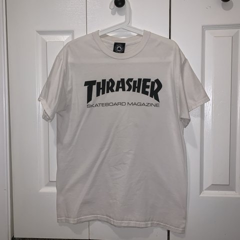 2e96b0a4c8ee thrasher skate mag t-shirt white/black size: M used with - Depop