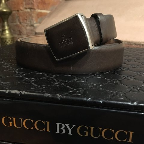 98dd9c74c men's classic Brown Pre -loved Gucci made in Italy belt up - Depop