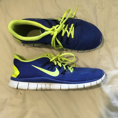 timeless design 07b88 01d4c  dressupdolores. 3 years ago. London, UK. Nike free 5 trainers. Blue and  yellow green.