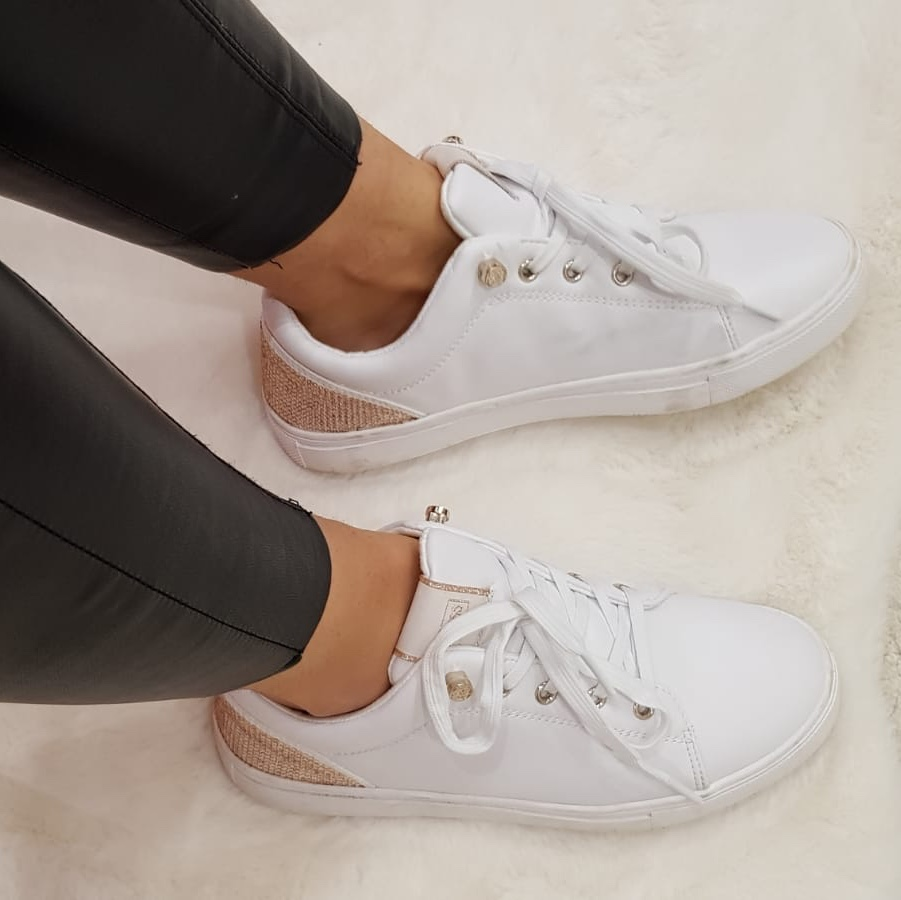 Guess white and rose gold gems trainers