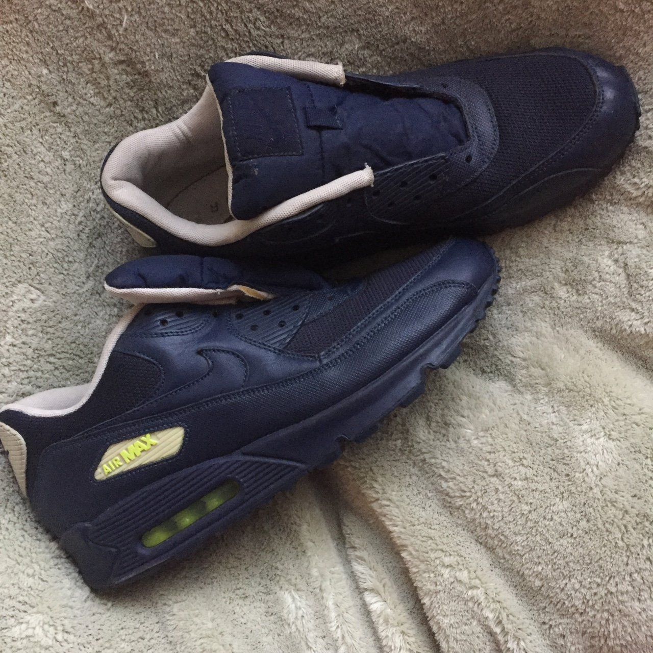 e454dead7d72b ✅ Nike Air Max 90 Mid Navy Blue-Volt-White Sz Shoes only a - Depop