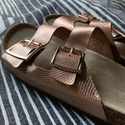 73c2718ff15  groovyfields. last month. United States. Madden girl rose gold snakeskin  print double strap buckle sandals