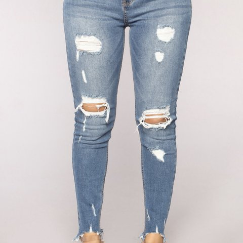 da1ad3b432b Fashion nova Distressed style Jeans size 7  equivalent to 10 - Depop