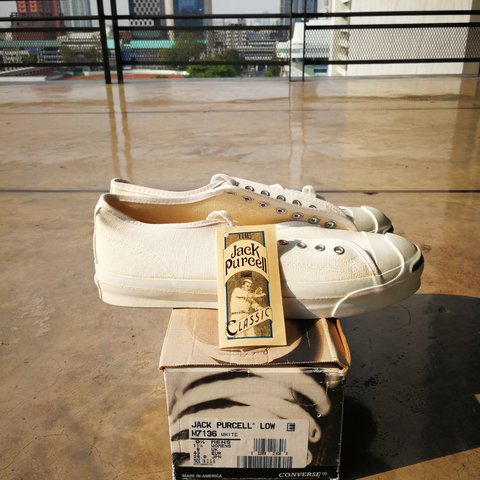 6abbff7dc422 Converse jack purcell 1990s made in USA (Dead stock) white   - Depop