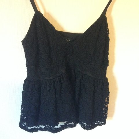 6011f48731 Black peplum lace bralet   crop top cami. Bought from New a - Depop