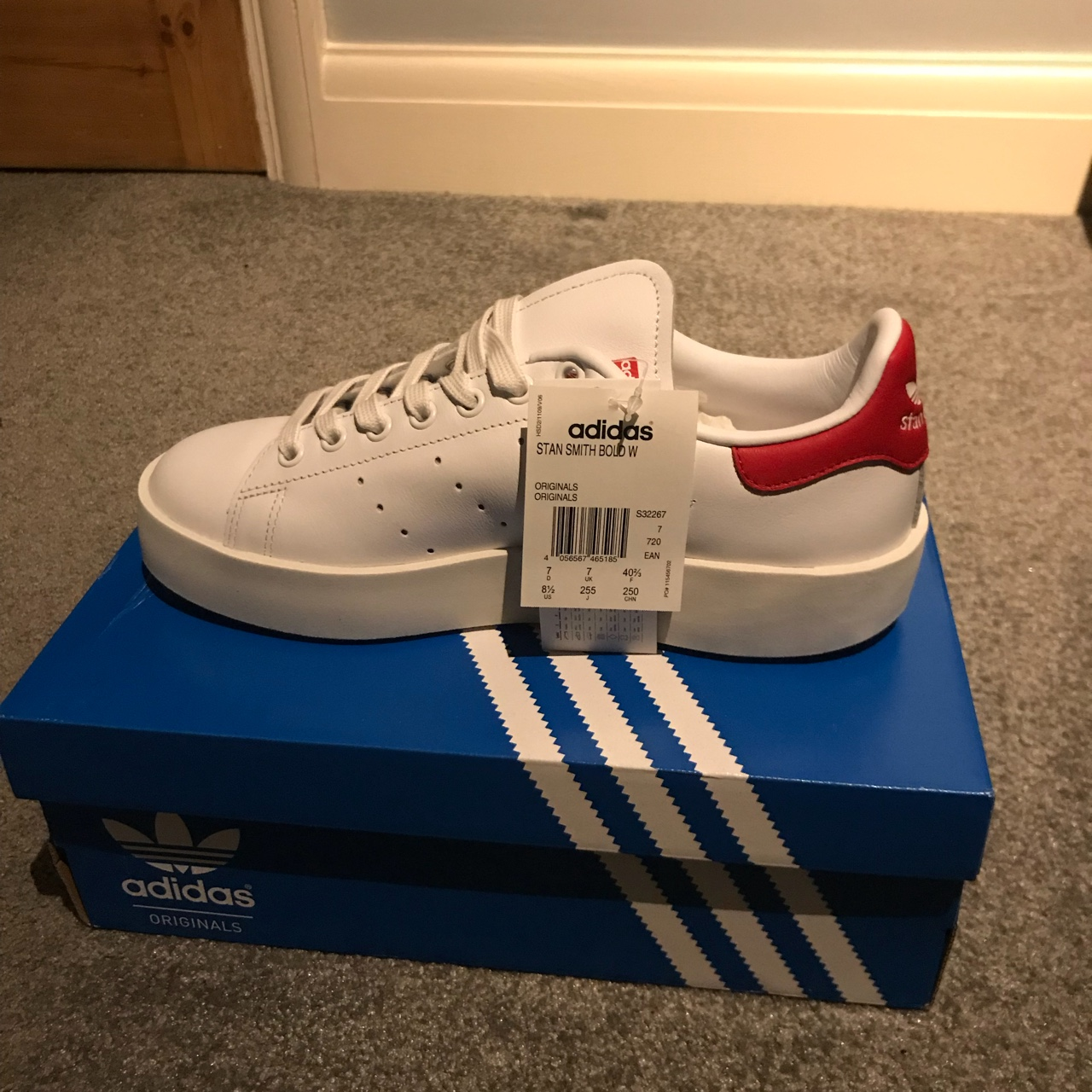 lowest price 73ea6 8b15a Women's size 7 Adidas Stan Smith's Bold (red and... - Depop