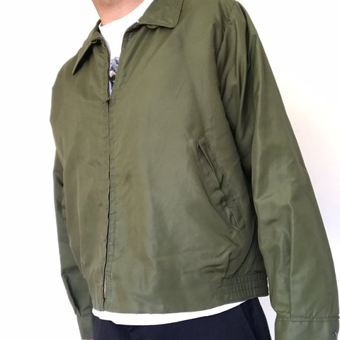 19f74575de 1950s army green bomber jacket .Awesome Box fit . In Amazing - Depop