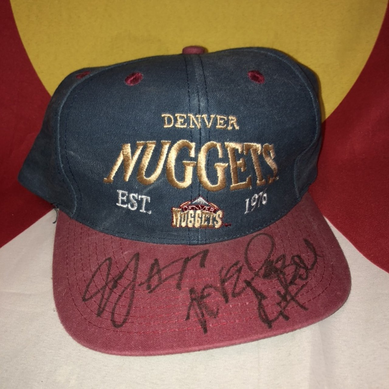 be1db6bf1acb4 Denver Nuggets Vintage SnapBack Hat Signed NBA Mile High + - Depop