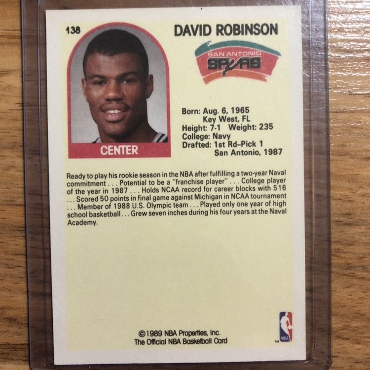 David Robinson Rookie Card Nba Hoops Basketball San Depop