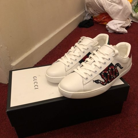 9cc2a6e91e7 price negotiable  Gucci new ace snake-embroidered sneakers