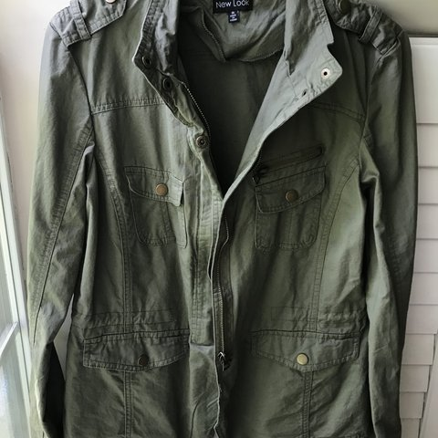 9a668506d73 Olive green New Look military combat style fall jacket Never - Depop
