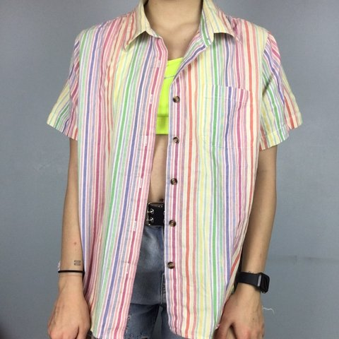 26efe80be @retrorepeats27. 2 days ago. Mentor, United States. Multi colored vertical  striped button up!