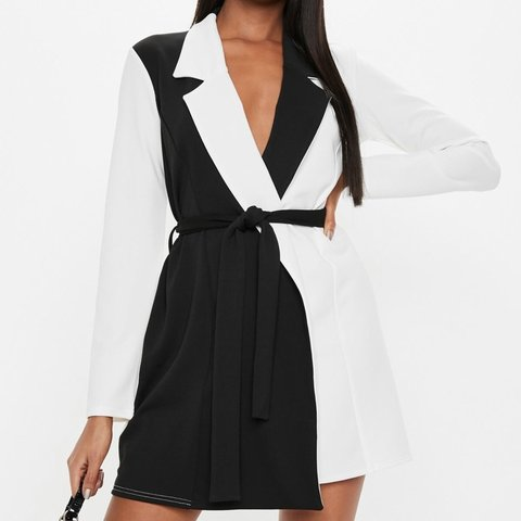 eb186c1d8fd7 Missguided black/white monochrome blazer dress worn once im - Depop