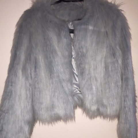 6468b65d Zara Faux Fur Coat in greyish blue color. Worn once. Perfect - Depop