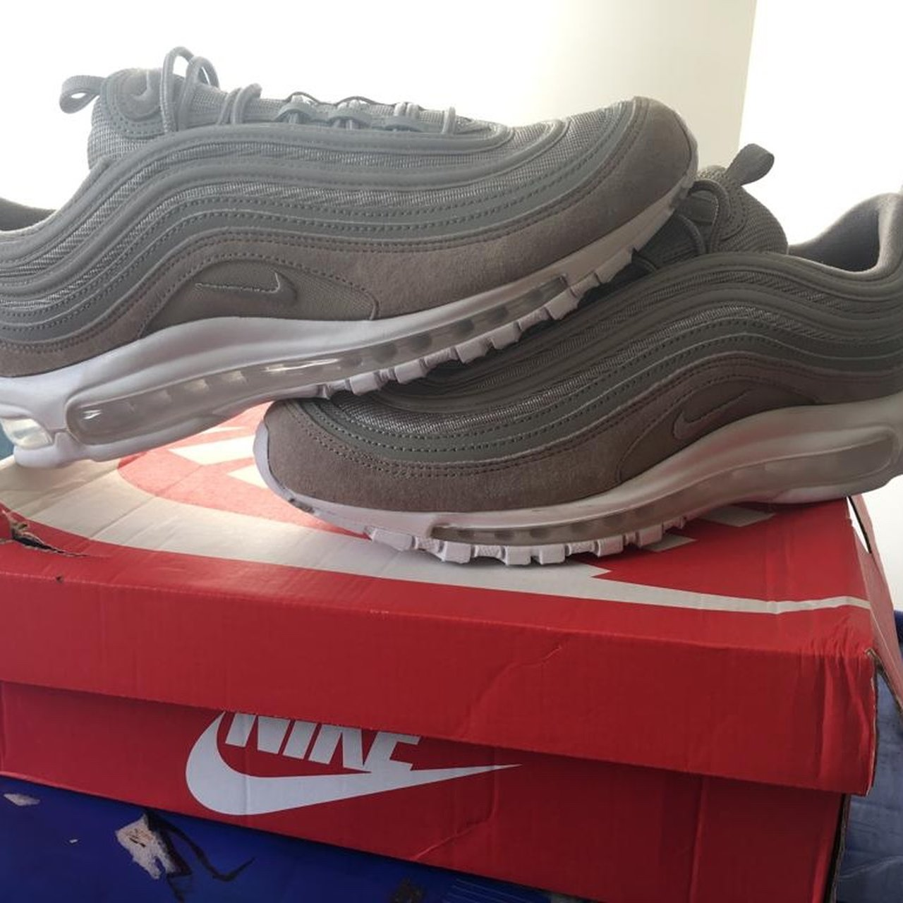 9ec155c85e1006 New Air Max 97 Cobblestone Suede Grey White Size UK 9